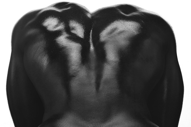 a photo a man's naked back. His skin is ebony black against a white background.
