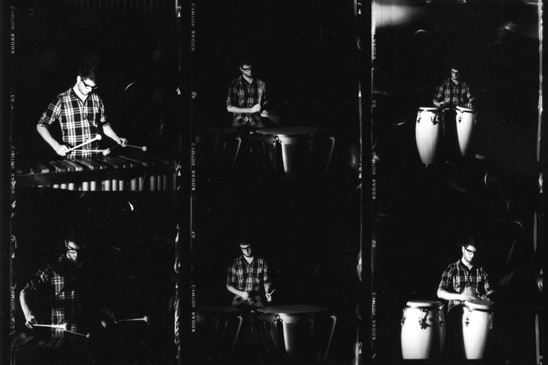 a variety of images of evan chapman playing drums