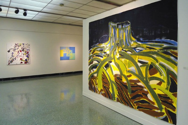 An exhibition view of Geist Und Form at the Grunwald Gallery, featuring paintings by (from left to right) Maarten Janssen, Bernard Frize and Michael Markwick.