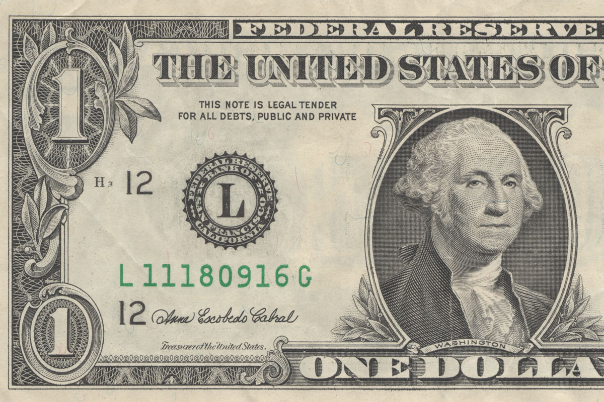 One dollar bill.