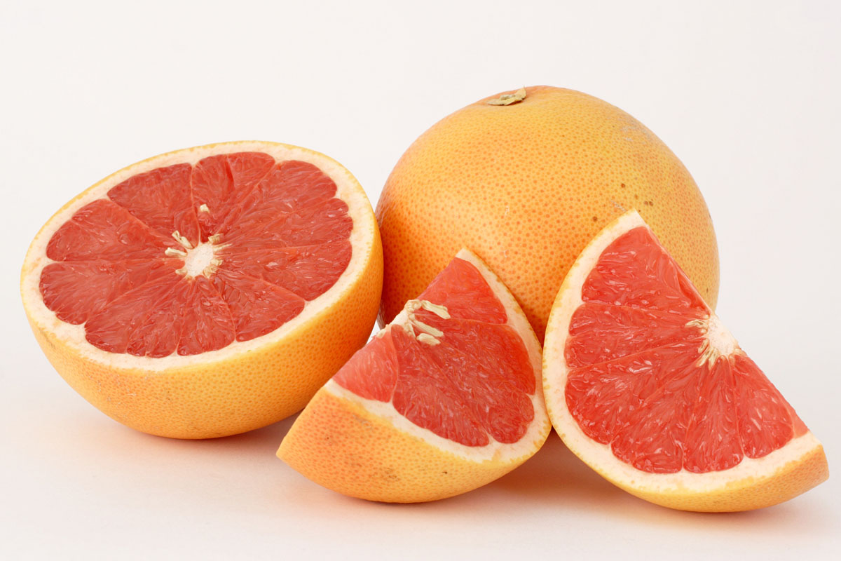 Photo of sliced grapefruit.