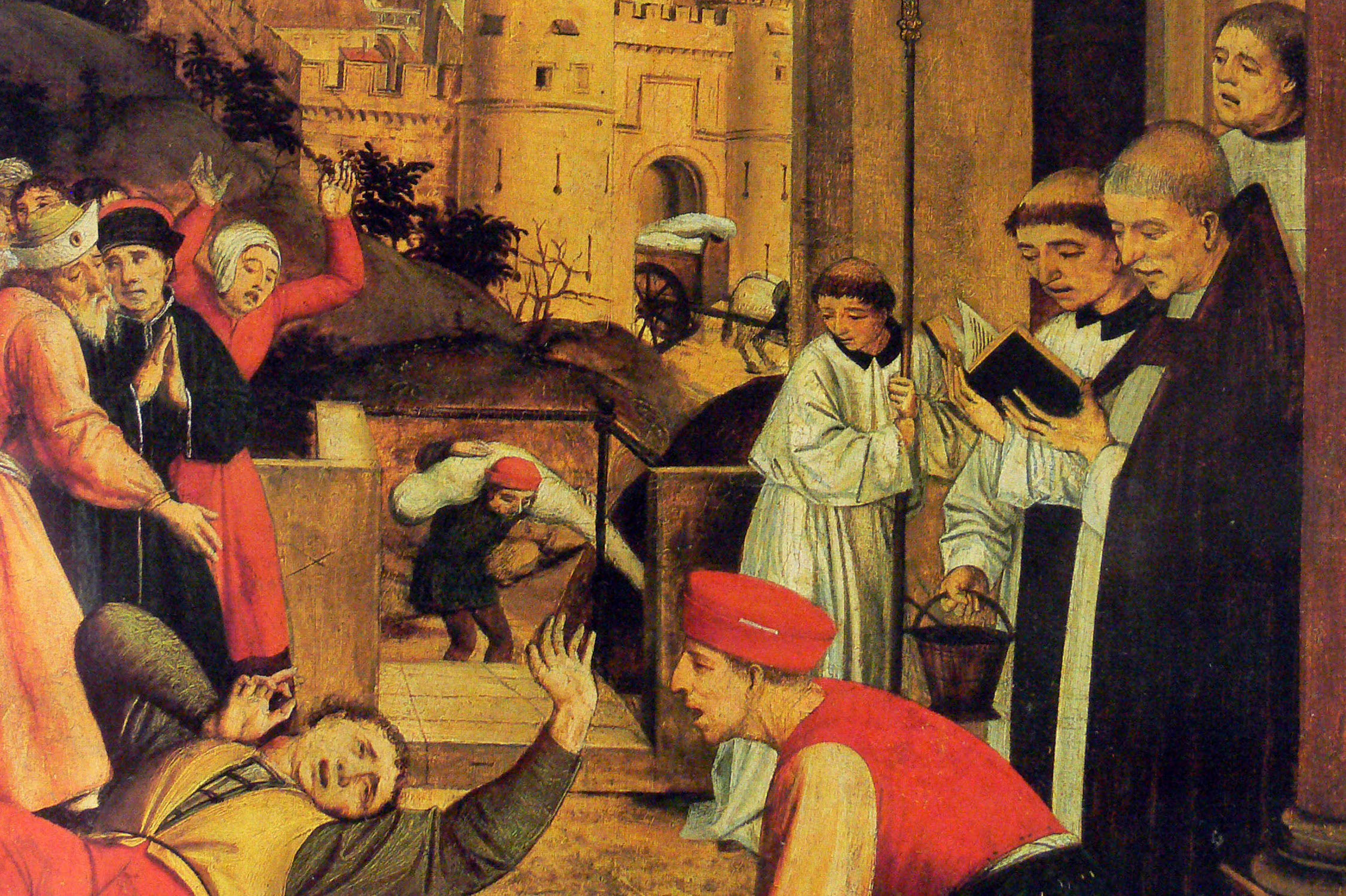 Medieval painting of the Justinian plague.
