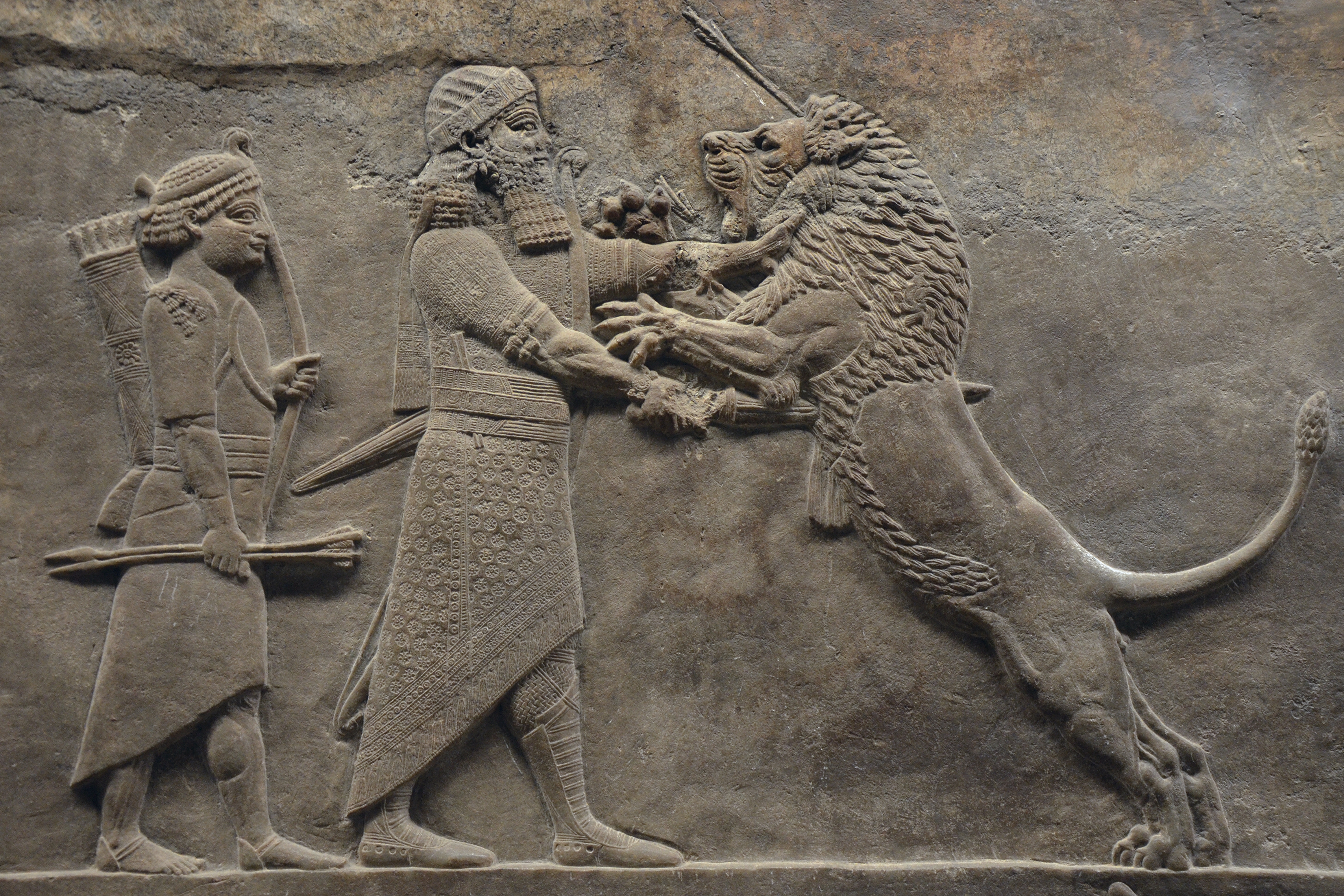 Relief of Ashurbanipal killing a lion.