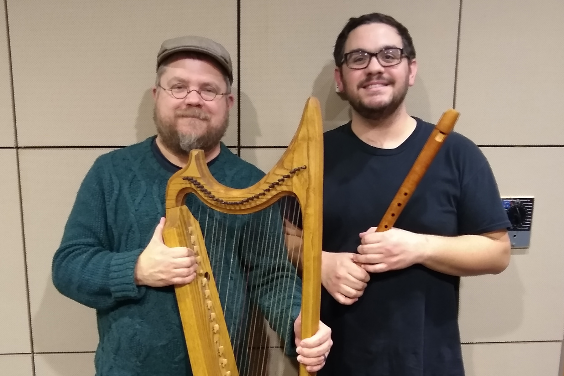 Keith Collins and Christopher Armijo with the Bray Harp