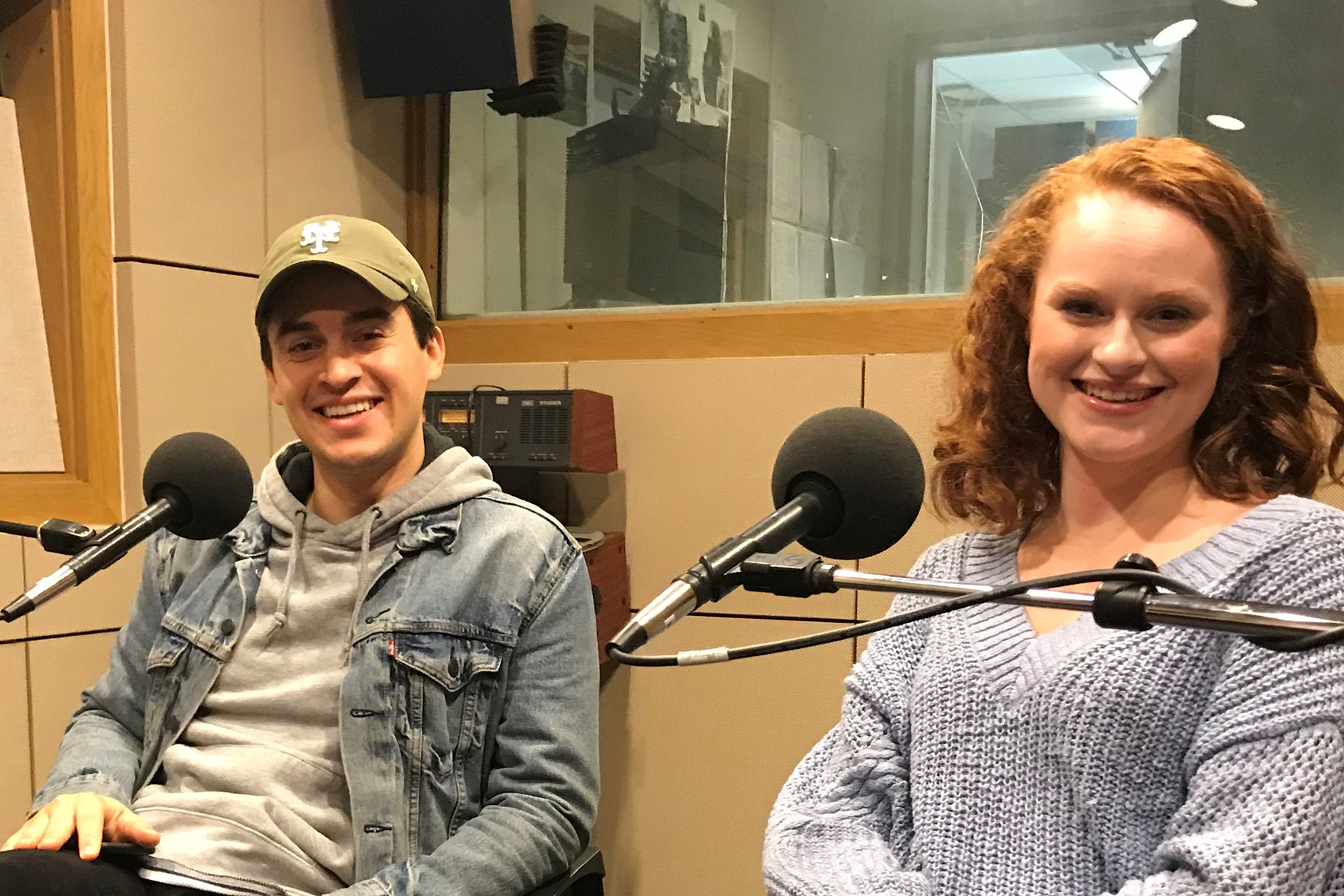 Julian Diaz-Granados, the leader of the newsies with Katie Swaney, the inquisitive reporter