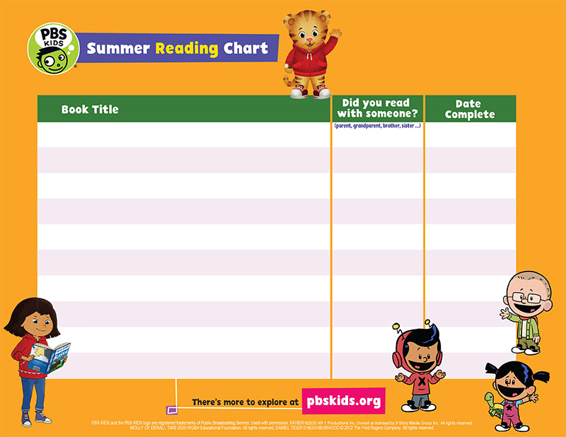 PBS Kids Reading Chart