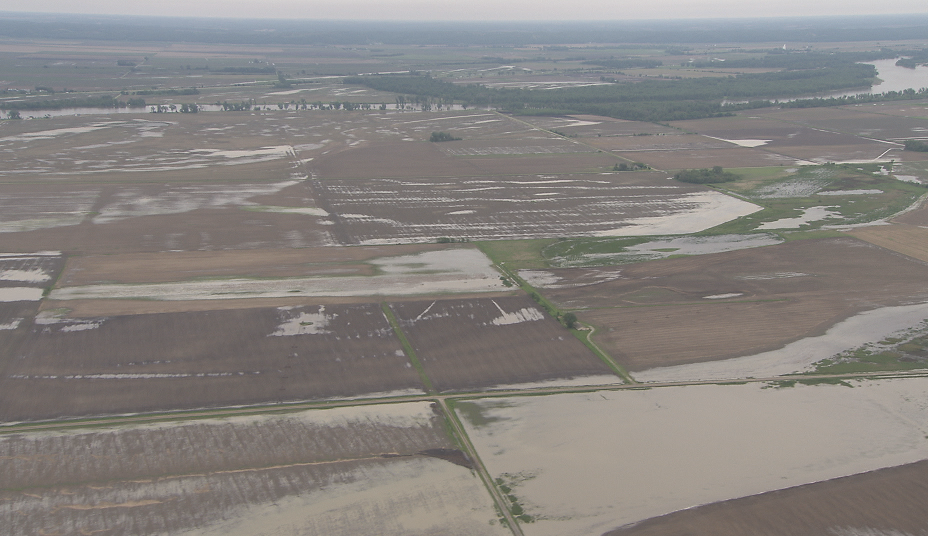 aerial view of flooded fields
