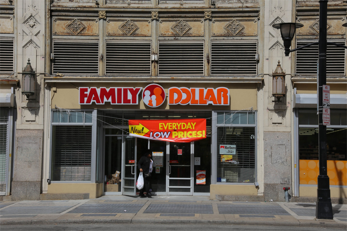 Family Dollar storefront in an older, ornate building.