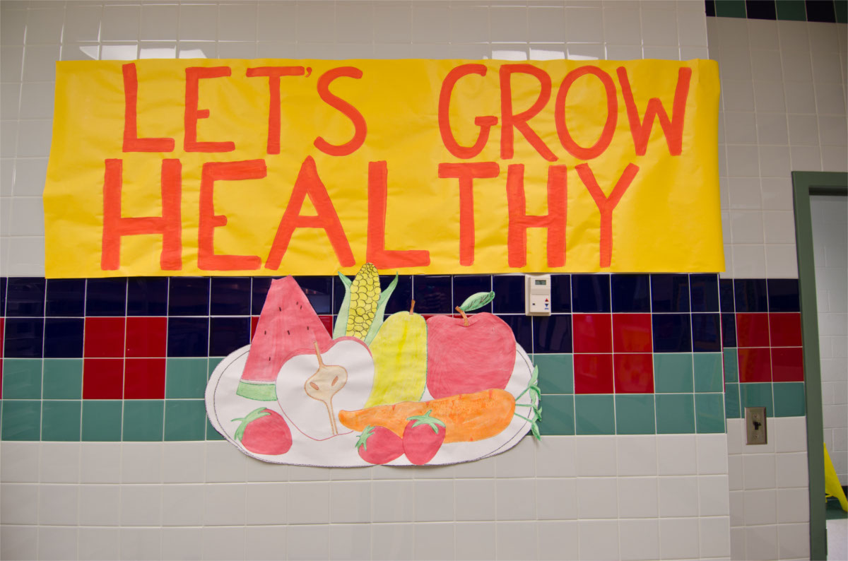 a poster about healthy food at a school cafeteria