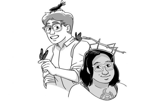 Cartoon drawing of Blue Deliquanti and Soleil Ho, with various insects on them.