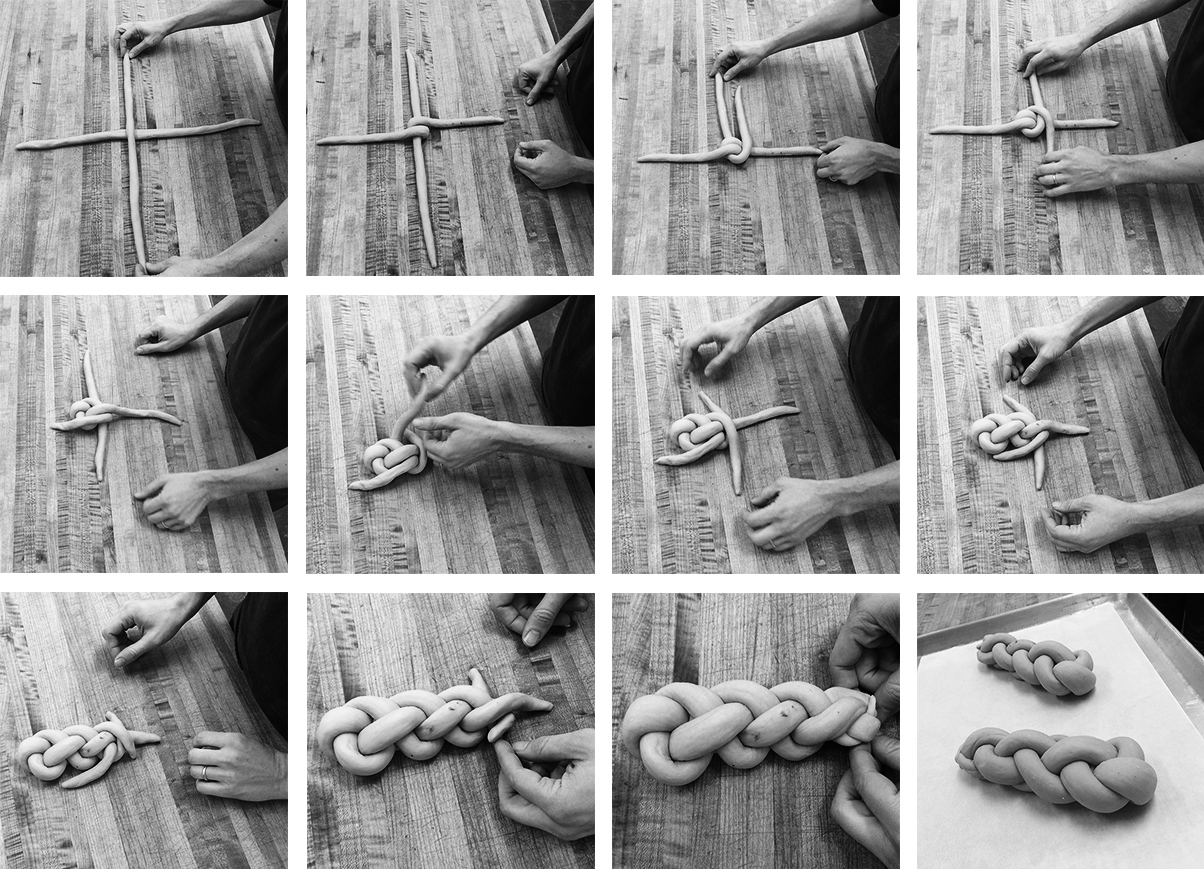 A grid of black and white images of the steps to braiding a challah loaf