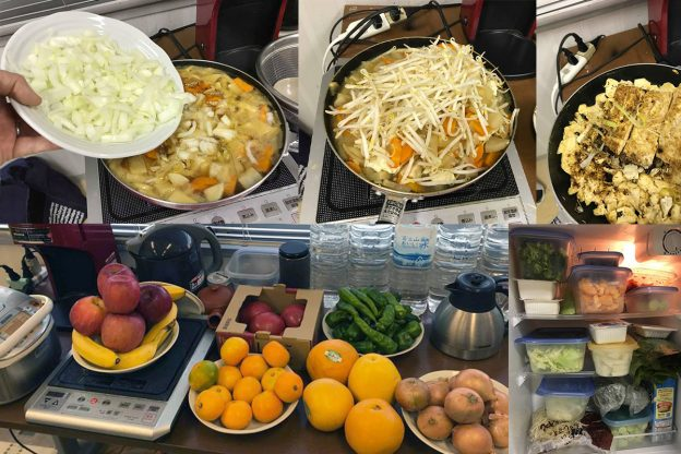 A collage of images of kitchen equipment and food in pots on a table in an office.