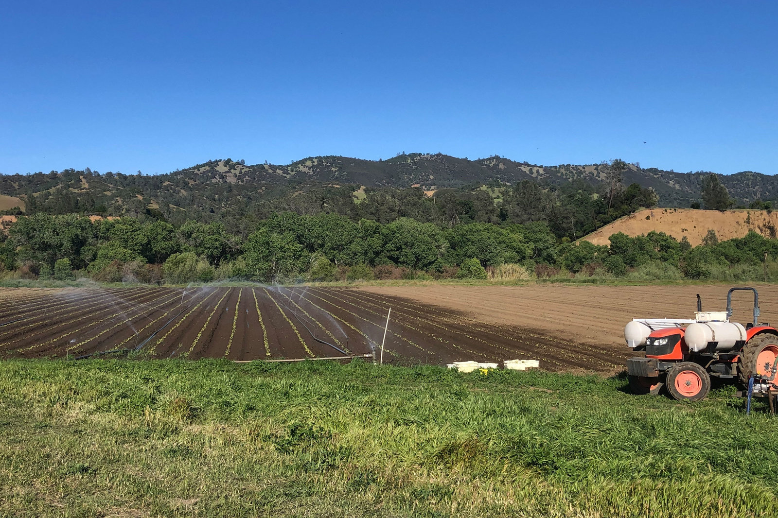 Farm field being irrigated with mountains in background and tractor in foreground