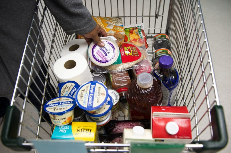 Shopping cart of food
