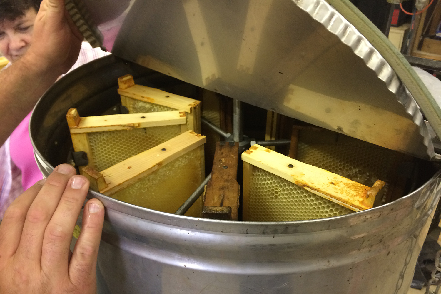 A view from the top of the inside of a honey extractor, a stainless steel barrel with honeycomb frames installed like spokes on a wheel