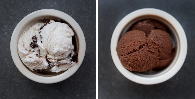Two scoops of Perfect Day's vegan ice cream, made with synthetic whey proteins