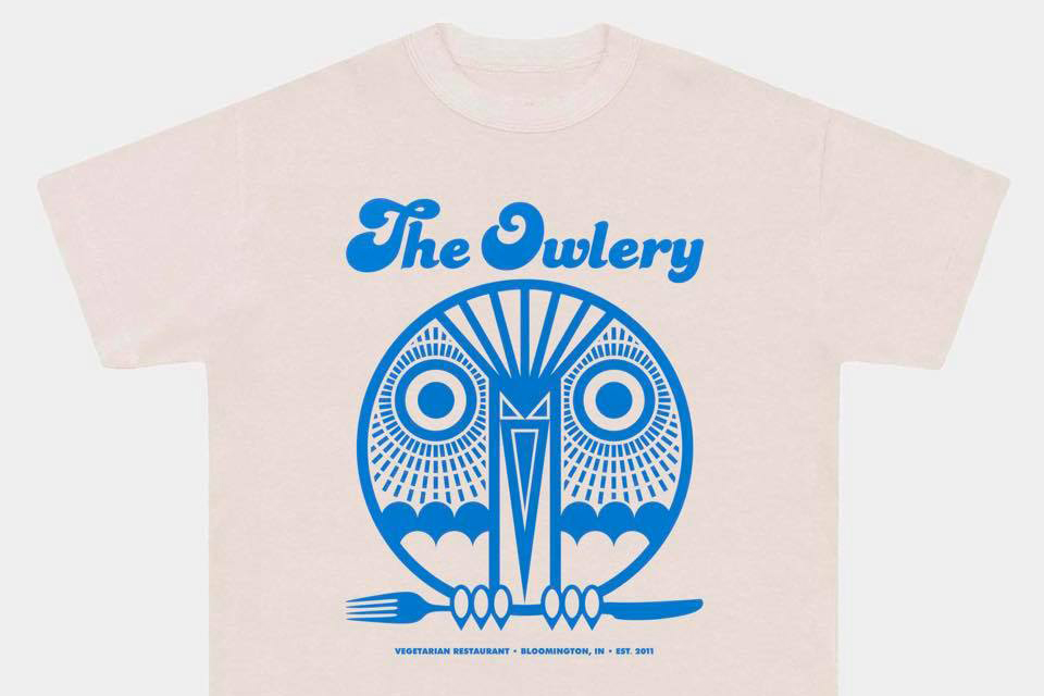 Pale t-shirt printed with a blue owl graphic and The Owlery on a white background