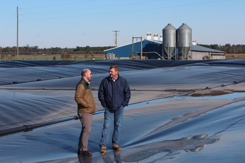 men standing on plastic covered manure pond