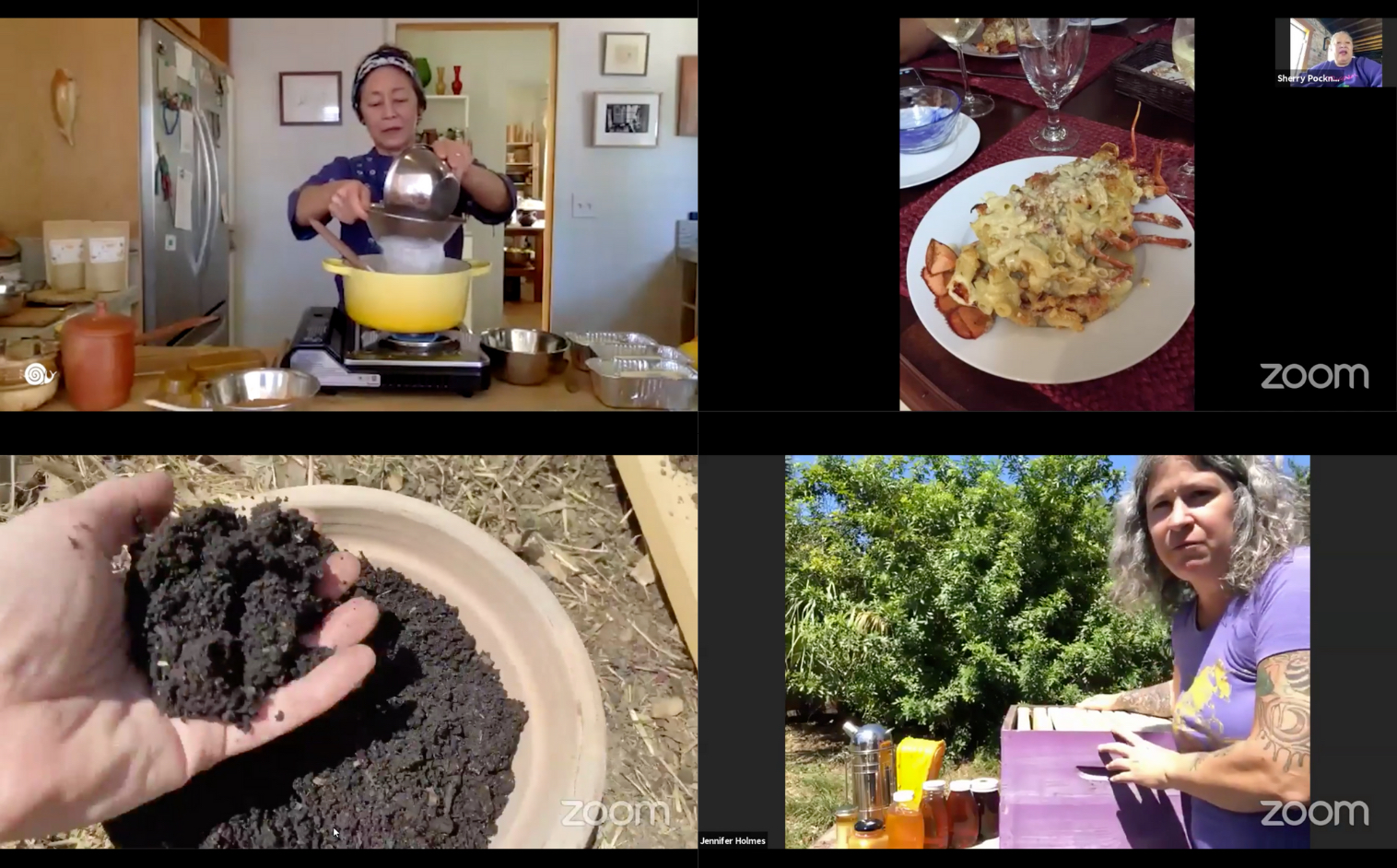 A grid of four screen shots of zoom sessions. One is a woman pouring a white substance into a seive over a yellow pot on a stove, two a plate of pasta covered lobster, three a hand in a pot of soil, four a woman with an open beehive and jars of honey