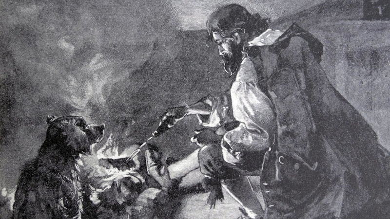 illustration of a man cooking over a fire