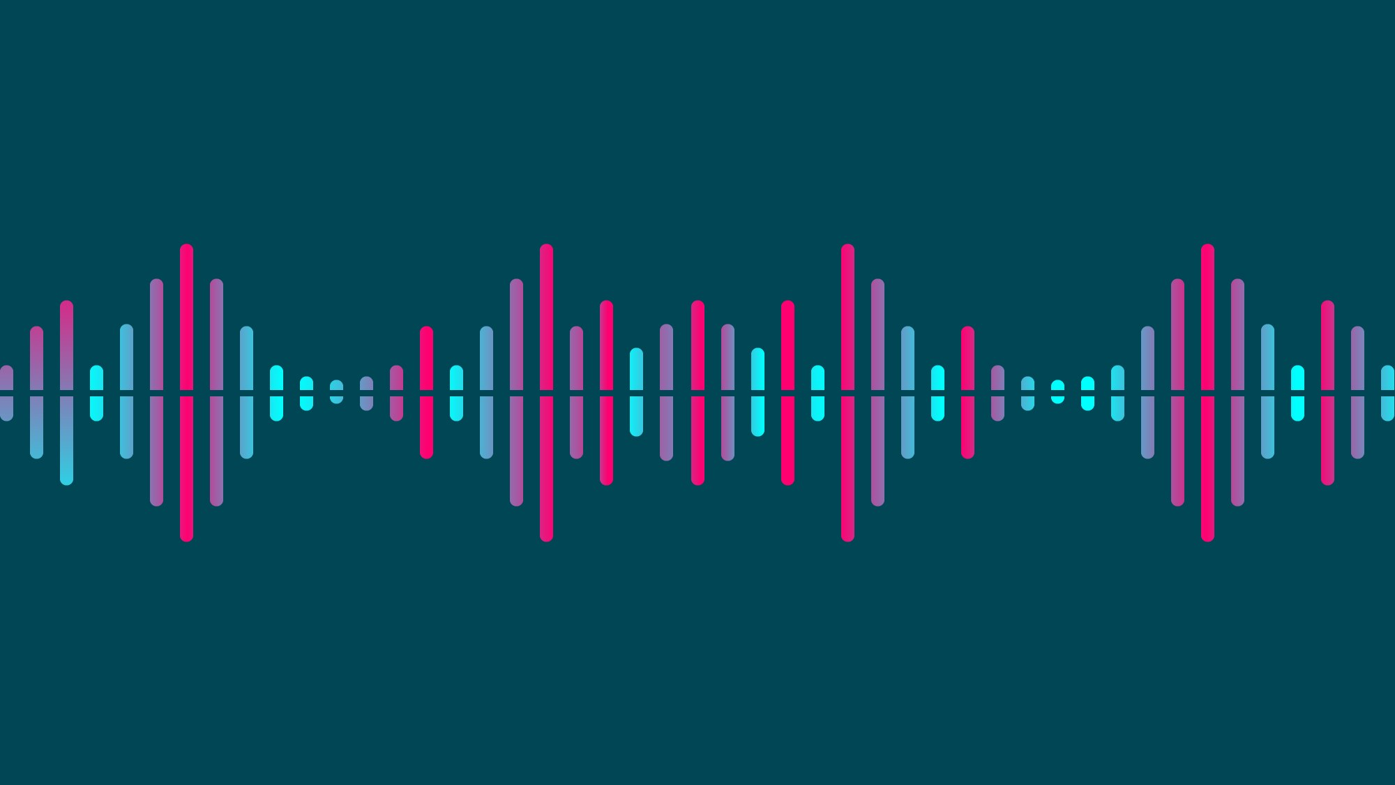 Image of soundwaves, depicted graphically in pinks and blues on a dark background.