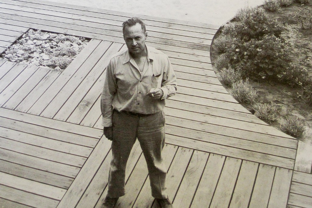 Landscape architect Thomas Church standing in Martin Garden, 1949 (black and white image).