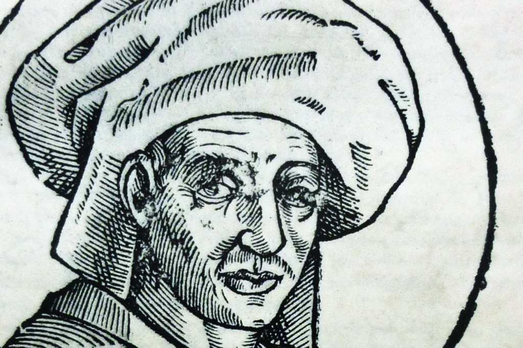 Woodcut image of composer Josquin des Prez from 1611