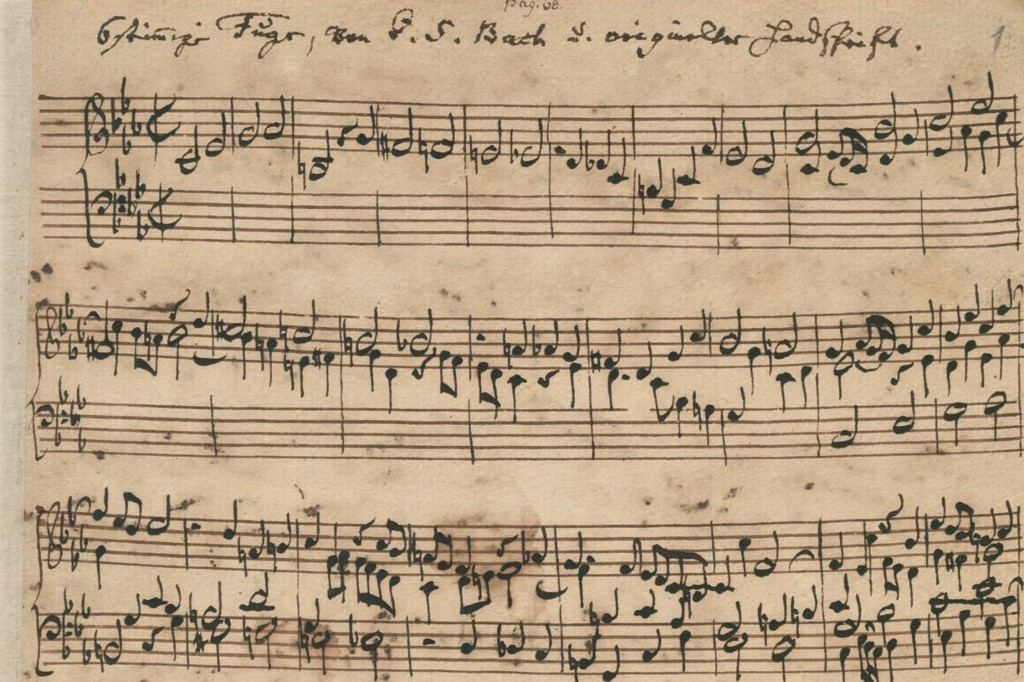 "Image from the first page of the manuscript of the ""Ricercar a 6"" BWV 1079 by Johann Sebastian Bach., 1747."