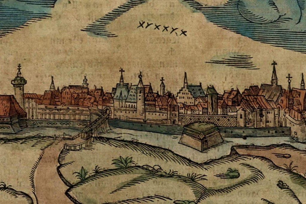 1598 colored woodcut of Leipzig, Germany.