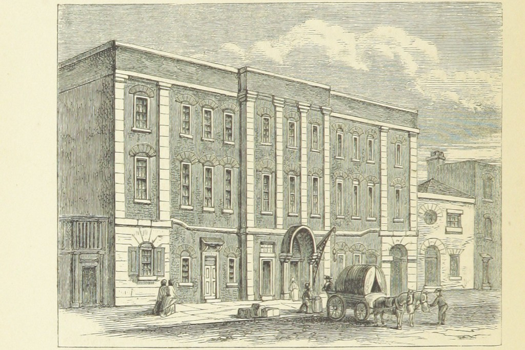 Drawing of the Lincoln's Inn Fields Theater from London in the 1860s.