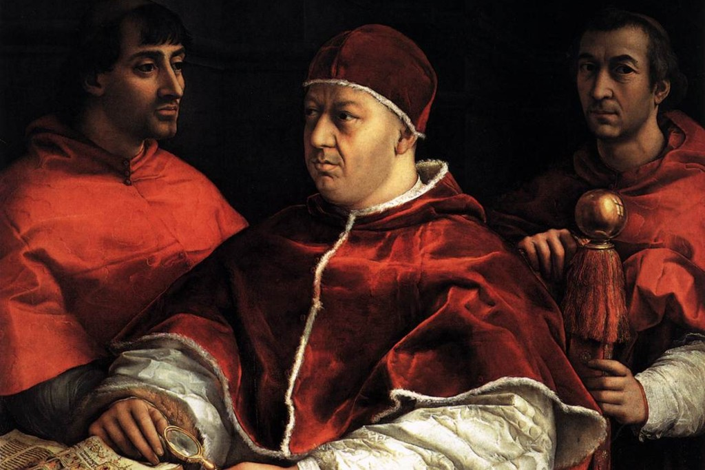 From a portrait of Pope Leo X by Raphael, 1518-19.