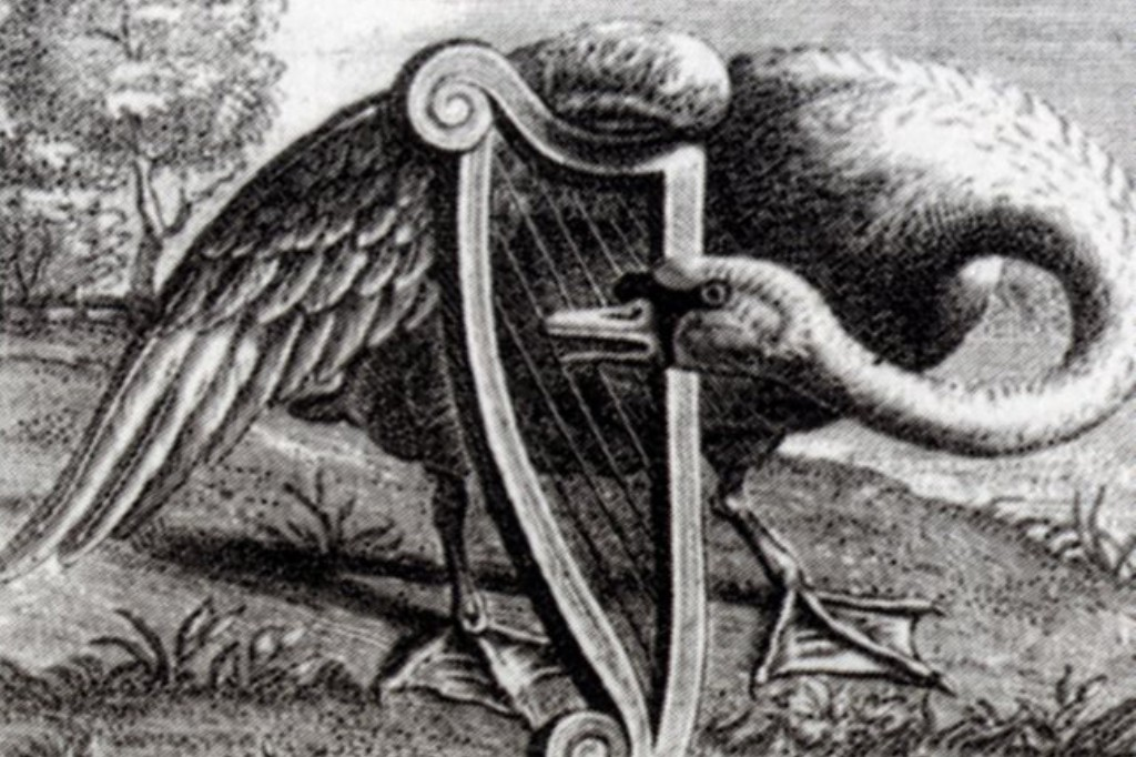 Black and white engraving of a swan plucking the strings of a harp.