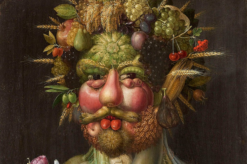 Portrait of a man made of fruits and vegetables.
