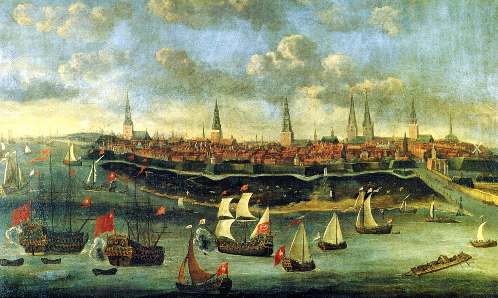 The painting View of Hamburg by Elias Galli, circa 1680.