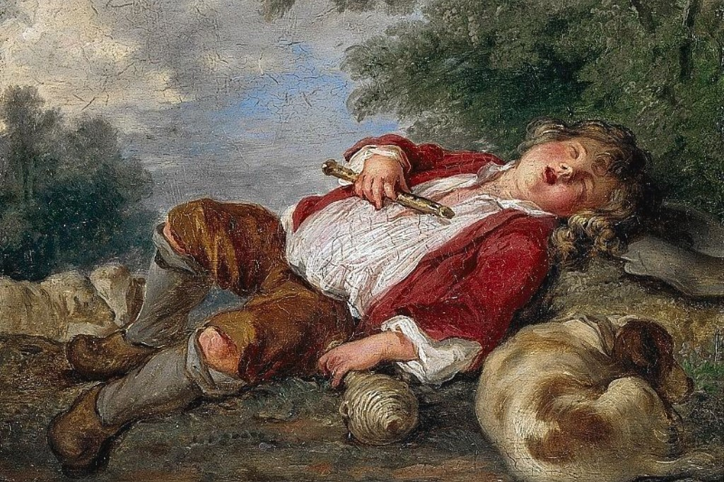 "Francois Boucher's painting ""Sleeping Shepherd"" from a reproduction by Eloisa Mannion."