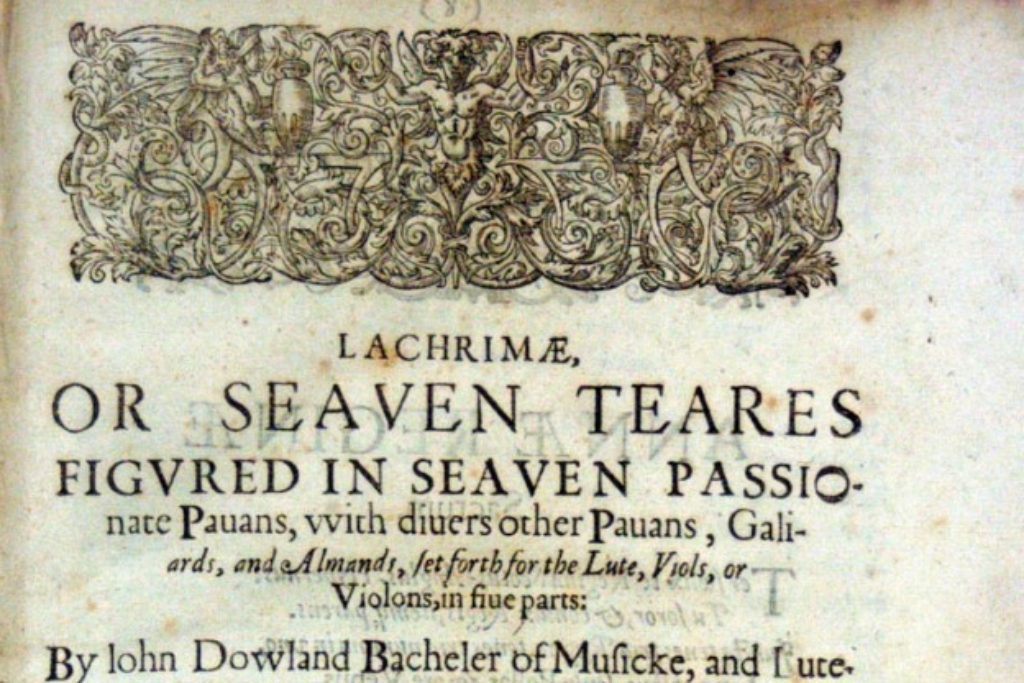 Title page to a concert by Les Voix called Lachrimae.