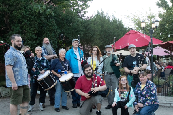 The Bloomington Pipers' Society pose for a group photo at their October 4 meeting.