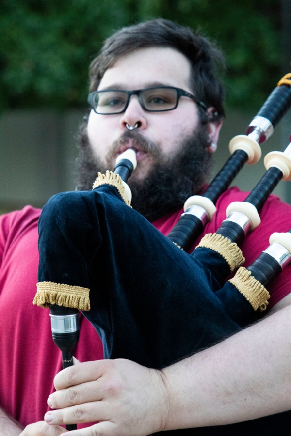 Joe Diodato, a member of the Bloomington Pipers' Society, plays a tune on his Highland bagpipes.
