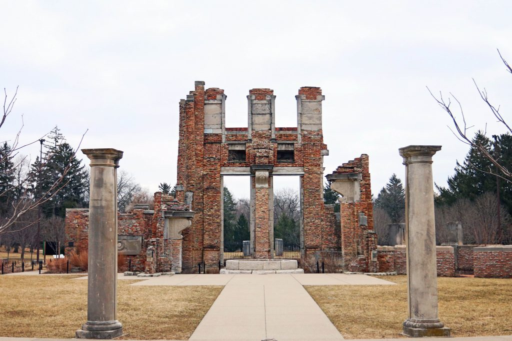 Holliday Park Ruins courtyard with pillars