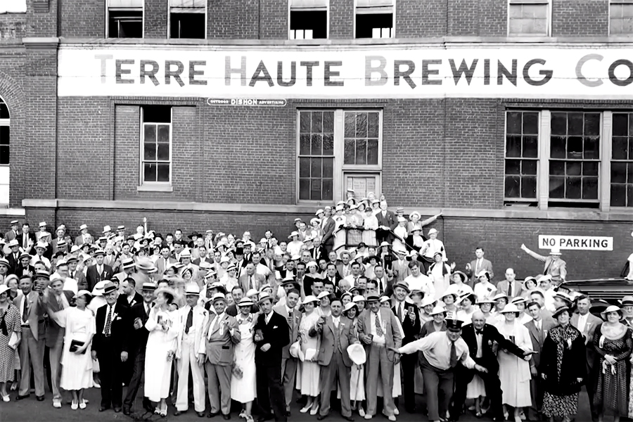 People in front of Terre Haute Brewing Co. in the 20th Century