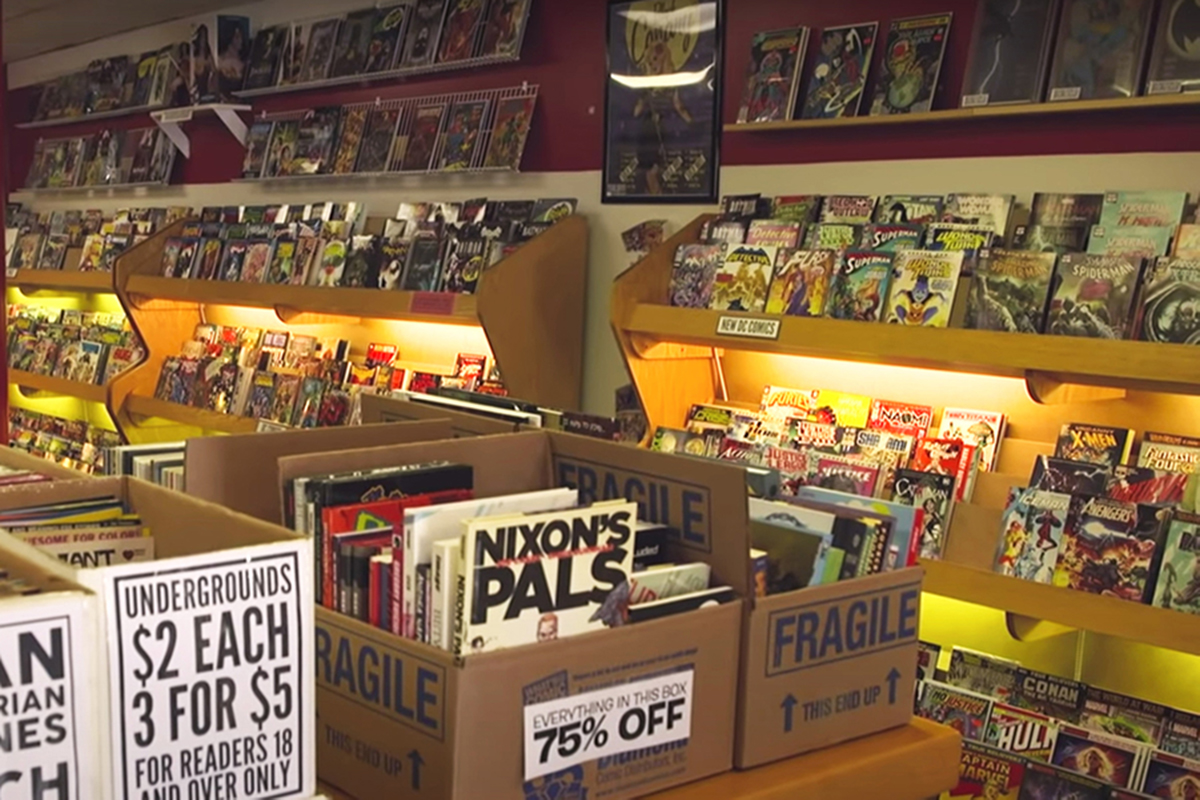 Stocked shelves of Vintage Phoenix Comic Books in Bloomington