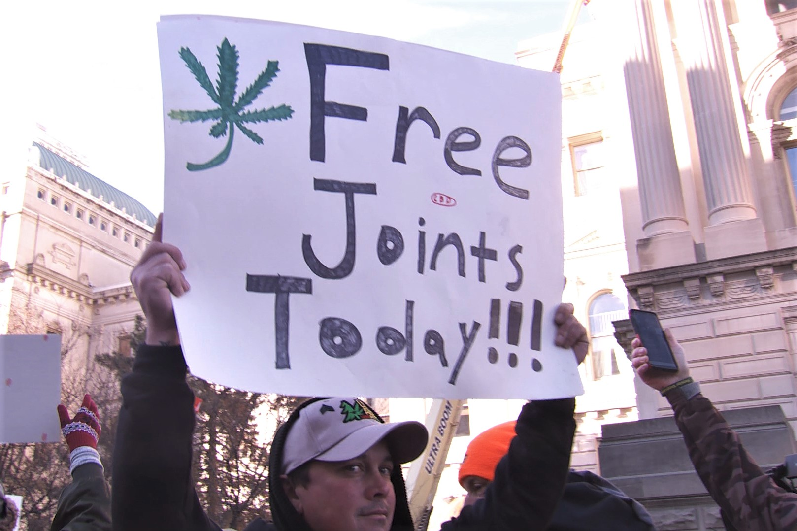 Protestors handed out marijuana products at Monday's rally.