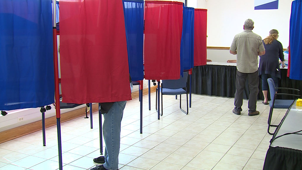 Voters at booths during last day of early voting in Monroe County municipal elections 2019
