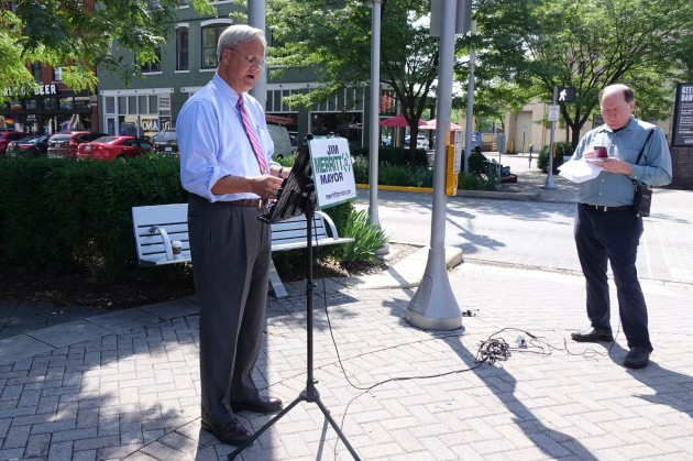 Republican Indianapolis Mayoral Candidate Jim Merritt speaks to reporters about his decision to not march in the 2019 Indy Pride Parade.
