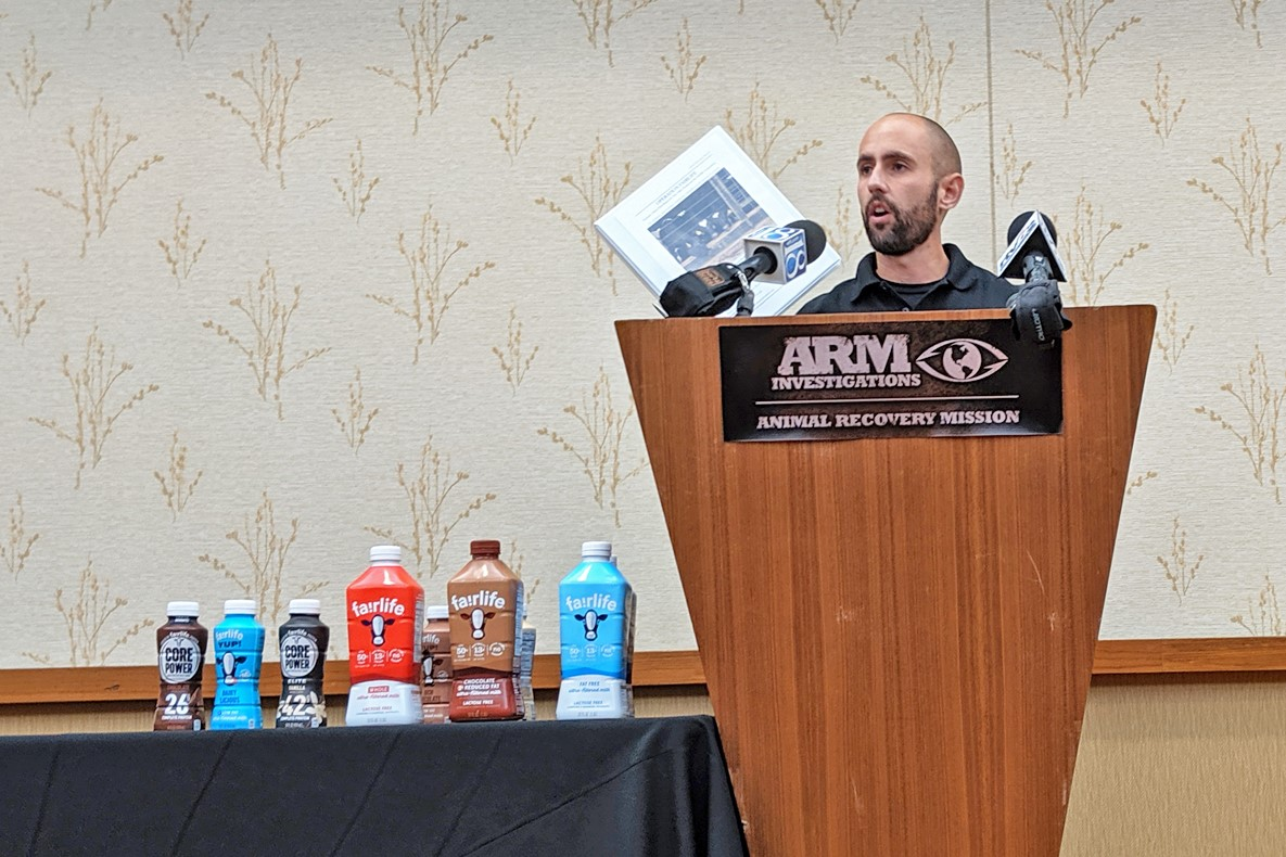 Animal Recovery Mission's AJ Garcia speaks at a press conference about Fair Oaks Farms, Wednesday, June 12 2019.