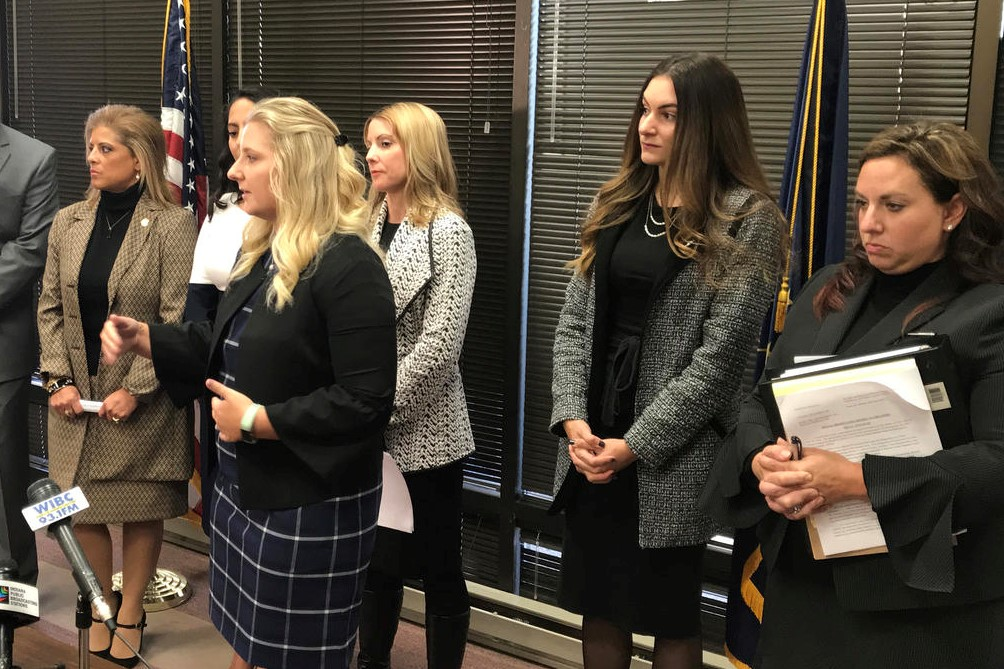 The four women who say Attorney General Curtis Hill groped them (and their attorneys) address the media in October of 2018.