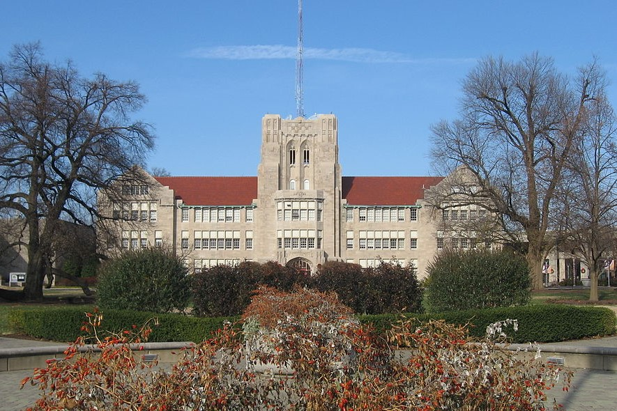 The University of Evansville's main administration building.