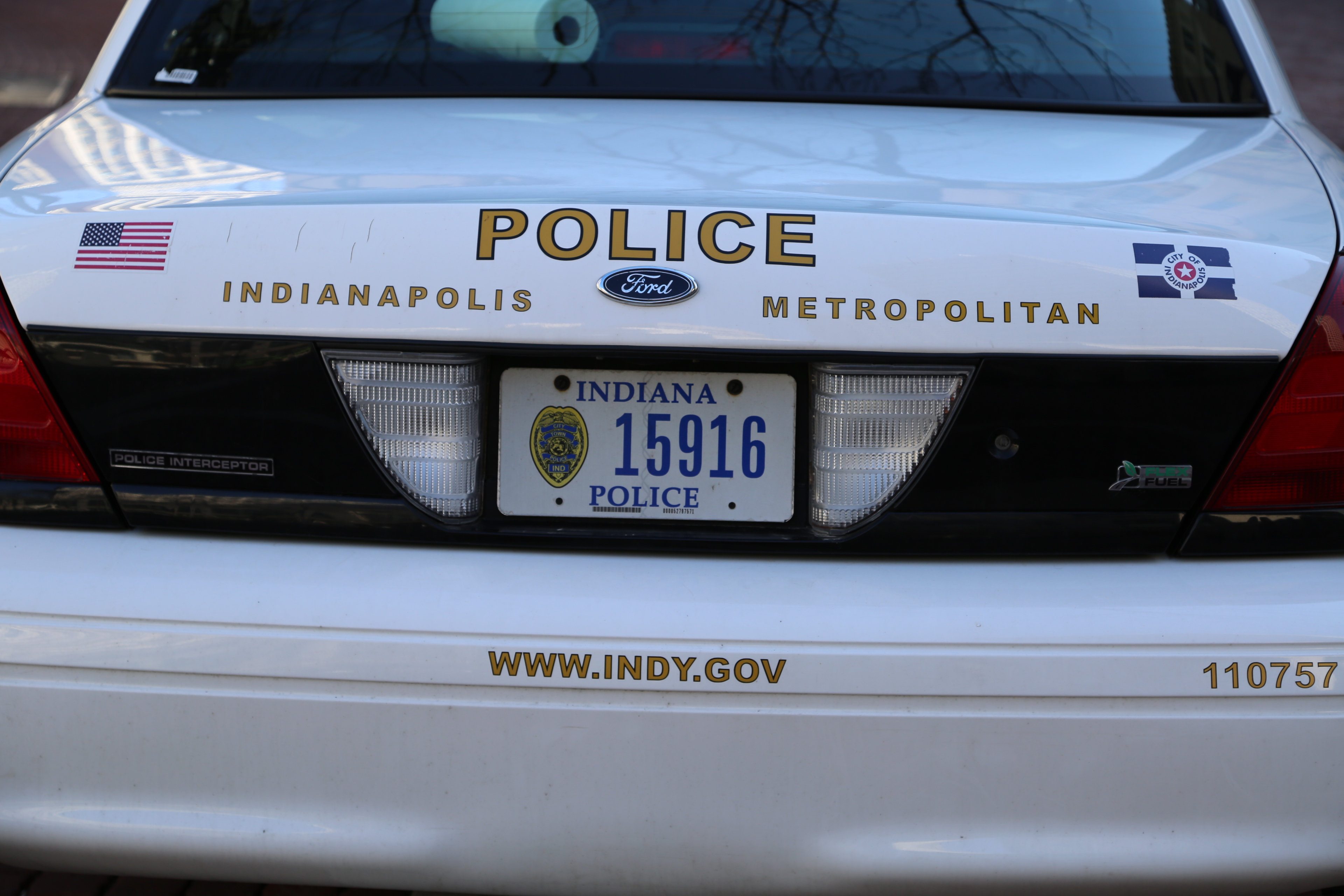 The back of an Indianapolis Metropolitan Police cruiser.