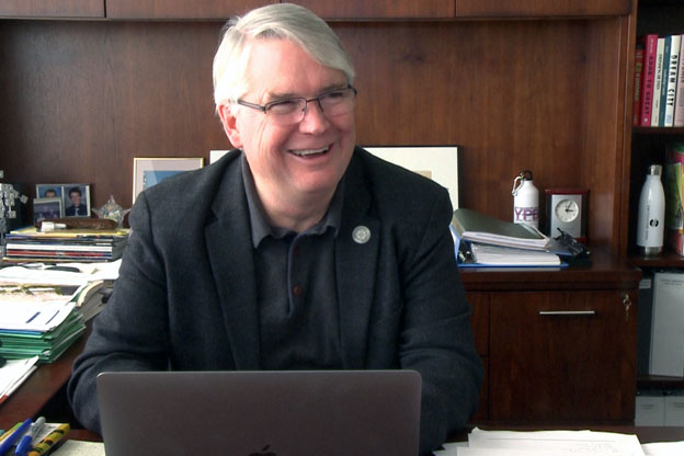 Mayor Hamilton at his desk