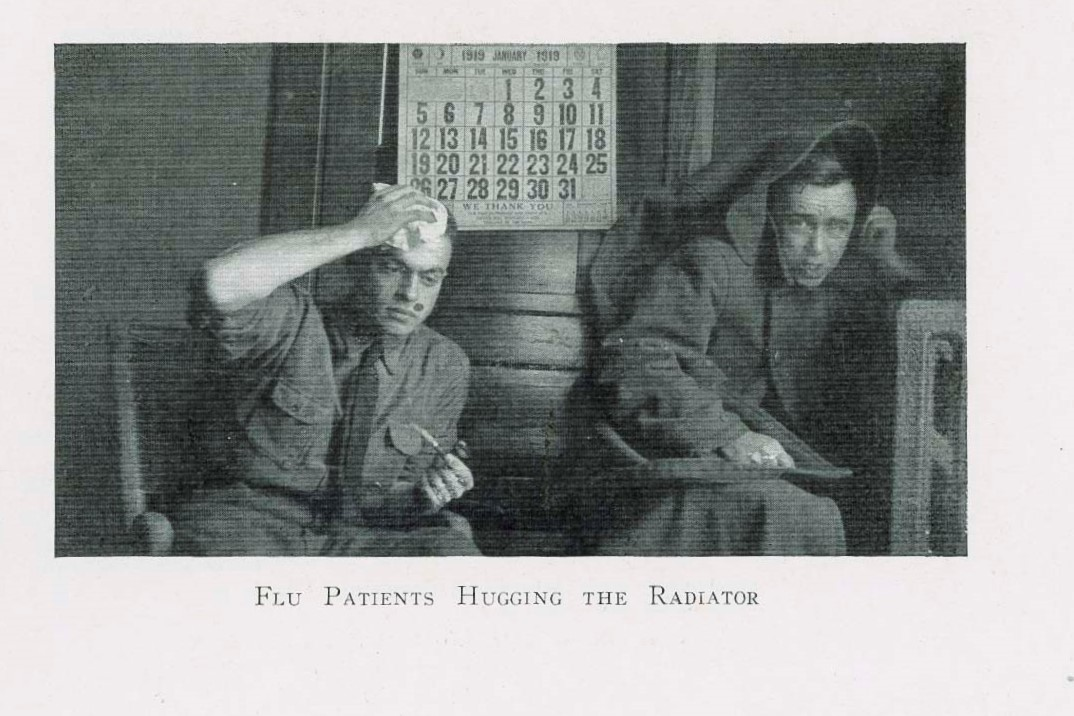 Two Hoosiers fight the flu in a photo from the 1919 IU Arbutus.